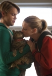 "GLEE: Sam (Chord Overstreet, L) and Brittany (Heather Morris, R) care for Lord Tubbington in the ""Shooting Star"" episode of GLEE airing Thursday, April 11 (9:00-10:00 PM ET/PT) on FOX. ©2013 Fox Broadcasting Co. CR: Adam Rose/FOX"