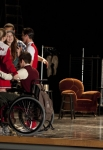 """GLEE: Brittany (Heather Morris, L) gets a group hug in the """"Shooting Star"""" episode of GLEE airing Thursday, April 11 (9:00-10:00 PM ET/PT) on FOX. Also Pictured: Chord Overstreet (R). ©2013 Fox Broadcasting Co. CR: Adam Rose/FOX"""