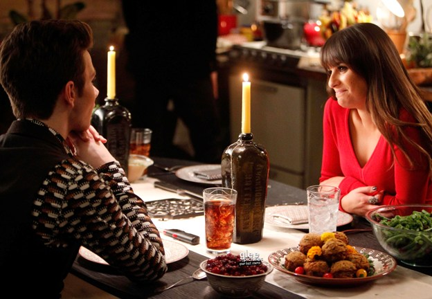 "GLEE: Kurt (Chris Colfer, L) and Rachel (Lea Michele, R) celebrate Thanksgiving in New York in the ""Thanksgiving"" episode of GLEE airing Thursday, Nov. 29 (9:00-10:00 PM ET/PT) on FOX. ©2012 Fox Broadcasting Co. Cr: Jordin Althaus/FOX"