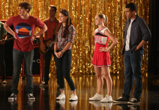 """GLEE: L-R: Ryder (Blake Jenner, """"The Glee Project"""" Winner Season 2), Marley (Melissa Benoist), Kitty (Becca Tobin) and Jake (Jacob Artist) rehearse for a musical in the """"The Role You Were Born to Play"""" episode of GLEE airing Thursday, Nov. 8 (9:00-10:00 PM ET/PT) on FOX. ©2012 Fox Broadcasting Co. Cr: Mike Yarish/FOX"""