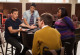 """GLEE: Finn (Cory Monteith, L) seeks advice from Artie (Kevin McHale, third from L), Mike (Harry Shum Jr., second from L) and Mercedes (Amber Riley, R) in the """"The Role You Were Born to Play"""" episode of GLEE airing Thursday, Nov. 8 (9:00-10:00 PM ET/PT) on FOX. ©2012 Fox Broadcasting Co. Cr: Beth Dubber/FOX"""
