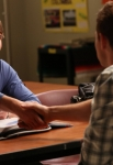 "GLEE: Finn (Cory Monteith, R) recruits a new student (Blake Jenner, winner of ""The Glee Project"" Season 2) to the glee club in the ""The Role You Were Born to Play"" episode of GLEE airing Thursday, Nov. 8 (9:00-10:00 PM ET/PT) on FOX. ©2012 Fox Broadcasting Co. Cr: Mike Yarish/FOX"