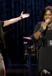 "GLEE: Marley (Melissa Benoist, L) and Unique (Alex Newell, R) perform in the ""The Role You Were Born to Play"" episode of GLEE airing Thursday, Nov. 8 (9:00-10:00 PM ET/PT) on FOX. ©2012 Fox Broadcasting Co. Cr: Adam Rose/FOX"