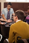 "GLEE: Finn (Cory Monteith, L) seeks advice from Artie (Kevin McHale, third from L), Mike (Harry Shum Jr., second from L) and Mercedes (Amber Riley, R) in the ""The Role You Were Born to Play"" episode of GLEE airing Thursday, Nov. 8 (9:00-10:00 PM ET/PT) on FOX. ©2012 Fox Broadcasting Co. Cr: Beth Dubber/FOX"