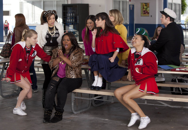 """GLEE: Mercedes (Amber Riley, third from L) performs with the girls in the """"Yes/No"""" winter premiere episode of GLEE, airing Tuesday, Jan. 17 (8:00-9:00 PM ET/PT) on FOX. Also pictured L-R: Heather Morris, Vanessa Lengies, Jenna Ushkowitz, Lea Michele, Dianna Agron, Naya Rivera and Chris Colfer. ©2011 Fox Broadcasting Co. Cr: Adam Rose/FOX"""