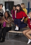 "GLEE: Mercedes (Amber Riley, third from L) performs with the girls in the ""Yes/No"" winter premiere episode of GLEE, airing Tuesday, Jan. 17 (8:00-9:00 PM ET/PT) on FOX. Also pictured L-R: Heather Morris, Vanessa Lengies, Jenna Ushkowitz, Lea Michele, Dianna Agron, Naya Rivera and Chris Colfer. ©2011 Fox Broadcasting Co. Cr: Adam Rose/FOX"