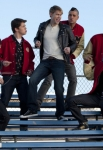 "GLEE: Sam (Chord Overstreet, C) performs with the guys in the ""Yes/No"" winter premiere episode of GLEE, airing Tuesday, Jan. 17 (8:00-9:00 PM ET/PT) on FOX. Also pictured L-R: Darren Criss, Damian McGinty, Mark Salling, Cory Monteith and Harry Shum Jr. ©2011 Fox Broadcasting Co. Cr: Adam Rose/FOX"