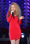 LOS ANGELES, CA - DECEMBER 02: Singer Haley Reinhart performs at the 4th Annual Holiday Tree Lighting at L.A. LIVE on December 2, 2011 in Los Angeles, California. (Photo by Jesse Grant/WireImage) *** Local Caption *** Haley Reinhart;Casey Abrams;