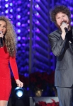 LOS ANGELES, CA - DECEMBER 02: Singers Haley Reinhart (L) and Casey Abrams perform at the 4th Annual Holiday Tree Lighting at L.A. LIVE on December 2, 2011 in Los Angeles, California. (Photo by Jesse Grant/WireImage) *** Local Caption *** Haley Reinhart;Casey Abrams;