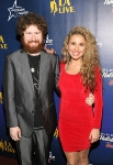 LOS ANGELES, CA - DECEMBER 02: Singers Casey Abrams and Haley Reinhart attend the 4th Annual Holiday Tree Lighting at L.A. LIVE on December 2, 2011 in Los Angeles, California. (Photo by Jesse Grant/WireImage) *** Local Caption *** Casey Abrams;Haley Reinhart;
