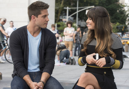 """GLEE: Brody (Dean Geyer, L) gives Rachel (Lea Michele, R) a pep talk in New York in """"The New Rachel,"""" the Season Four premiere episode of GLEE airing on a new night and time Thursday, Sept. 13 (9:00-10:00 PM ET/PT) on FOX. ©2012 Fox Broadcasting Co. Cr: David Giesbrecht/FOX"""