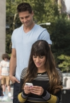 "GLEE: Brody (Dean Geyer, L) gives Rachel (Lea Michele, R) a pep talk in New York in ""The New Rachel,"" the Season Four premiere episode of GLEE airing on a new night and time Thursday, Sept. 13 (9:00-10:00 PM ET/PT) on FOX. ©2012 Fox Broadcasting Co. Cr: David Giesbrecht/FOX"