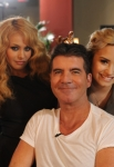 THE X FACTOR: June 11, 2013: L-R: Paulina Rubio, Simon Cowell and Demi Lovato backstage on the THE X FACTOR set in New Orleans. THE X FACTOR airs this Fall on FOX. CR: Ray Mickshaw / FOX. © Copyright 2013 / FOX.