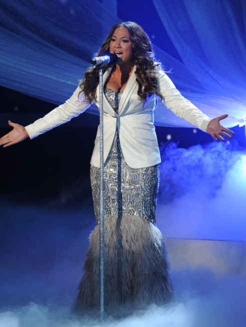 THE X FACTOR: Top 3 Perform: Melanie Amaro performs on THE X FACTOR Dec. 21 (8:00-9:30 PM ET/PT) on FOX. THE X FACTOR Finale airs Wed., Dec. 21 and Thurs., Dec. 22 on FOX. CR: Ray Mickshaw / FOX.