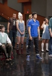 """GLEE: The glee club gets ready for rehearsal in the super-sized 90-minute """"Born This Way"""" episode of GLEE airing Tuesday; April 26 (8:00-9:30 PM ET/PT) on FOX. (Pictured from L-R: Jenna Ushkowitz; Ashley Fink; Amber Riley; Kevin MChale; Mark Saling; Heather Morris; Harry Shum Jr.; Chord Overstreet; Lea Michele; Cory Monteith; Dianna Agron) ©2011 Fox Broadcasting Co. CR: Adam Rose/FOXLea Michele; Cory Monteith; Dianna Agron) ©2011 Fox Broadcasting Co. CR: Adam Rose/FOX"""