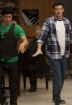 """GLEE: Mike (Harry Shum Jr., L) and Finn (Cory Monteith, R) perform in the super-sized 90 minute """"Born This Way"""" episode of GLEE airing Tuesday, April 26 (8:00-9:30 PM ET/PT) on FOX. ©2011 Fox Broadcasting Co. CR: Adam Rose/FOX"""