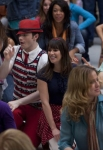 """GLEE: Lauren (Ashley Fink, L), Kurt (Chris Colfer, second from L) and Mike (Harry Shum, R) perform for Rachel (Leah Michele, third from L) in the super-sized 90 minute """"Born This Way"""" episode of GLEE airing Tuesday, April 26 (8:00-9:30 PM ET/PT) on FOX. ©2011 Fox Broadcasting Co. CR: Adam Rose/FOXBroadcasting Co. CR: Adam Rose/FOX"""