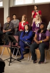 "GLEE: Rachel (Lea Michele, C) makes a suggestion to the glee club in the ""Comeback"" episode of GLEE airing Tuesday, Feb. 15 (8:00-9:01 PM ET/PT) on FOX. Pictured bottom row L-R: Naya Rivera, Chord Overstreet, Jenna Ushkowitz, Amber Riley and Kevin McHale. Top row L-R: Ashley Fink, Mark Salling, Harry Shum Jr., Dianna Agron, Heather Morris and Cory Monteith. ©2011 Fox Broadcasting Co. CR: Adam Rose/FOX"