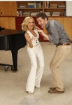 "GLEE: April (guest star Kristin Chenoweth, L) and Will (Matthew Morrison, R) perform a duet in the ""Rumours"" episode of GLEE airing Tuesday, May 3 (8:00-9:01 PM ET/PT) on FOX. ©2011 Fox Broadcasting Co. Cr: Beth Dubber/FOX"