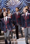 """GLEE: The Warblers perform at Sectionals in the """"Special Education"""" episode of GLEE airing Tuesday Nov. 30 (8:00-9:00 PM ET/PT) on FOX. Pictured front L-R: Darren Criss and Chris Colfer. ©2010 Fox Broadcasting Co. CR: Justin Lubin/FOX"""