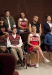"""GLEE: The glee club learns about their latest assignment in """"The Substitute"""" episode of GLEE airing Tuesday, Nov. 16 (8:00-9:00 PM ET/PT) on FOX. Pictured top row L-R: Amber Riley, Lea Michele, Cory Monteith, Naya Rivera, Mark Salling, Chris Colfer and Harry Shum Jr. Bottom row L-R: Jenna Ushkowitz, Kevin McHale, Heather Morris and Chord Overstreet. ©2010 Fox Broadcasting Co. CR: Adam Rose/FOX"""
