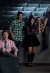 """GLEE: The Glee club watch Sunshine perform in """"Audition,"""" the season premiere episode of GLEE airing Tuesday, Sept. 21 (8:00-9:00 PM ET/PT) on FOX. ©2010 Fox Broadcasting Co. Pictured L-R: Chris Colfer, Matthew Morrison, Harry Shum Jr., Jenna Ushkowitz, Dianna Agron, Mark Salling and Naya Rivera. Cr: Adam Rose/FOX"""