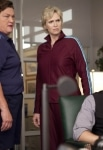"""GLEE: Coach Beiste (guest star Jone Shannon, L), Will (Matthew Morrison, R) and Sue (Jane Lynch, C) argue in Principal Figgins' office in """"Audition"""" the season premiere episode of GLEE airing Tuesday, Sept. 21 (8:00-9:00 PM ET/PT) on FOX. ©2010 Fox Broadcasting Co. Cr: Adam Rose/FOX"""