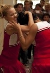 """GLEE: Quinn (Dianna Agron, L) and Santana (Naya Rivera, R) get in a fight in """"Audition,"""" the season premiere episode of GLEE airing Tuesday, Sept. 21 (8:00-9:00 PM ET/PT) on FOX. ©2010 Fox Broadcasting Co. Cr: Adam Rose/FOX"""