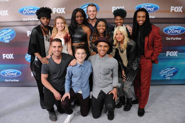 AMERICAN IDOL XIV: (Top L-R) Quentin Alexander, Maddie Walker, Adanna Duru, Clark Beckham, Sarina-Joi Crowe, Jax, Tyanna Jones and Qaasim Middleton, (Bottom L-R) Nick Fradiani, Daniel Seavey and Rayvon Owen arrive on the silver carpet during the AMERICAN IDOL XIV TOP FINALISTS PARTY on Wednesday, Feb. 12 at The District by Hannah An in West Hollywood, CA. CR: Patrick Rideaux/FOX