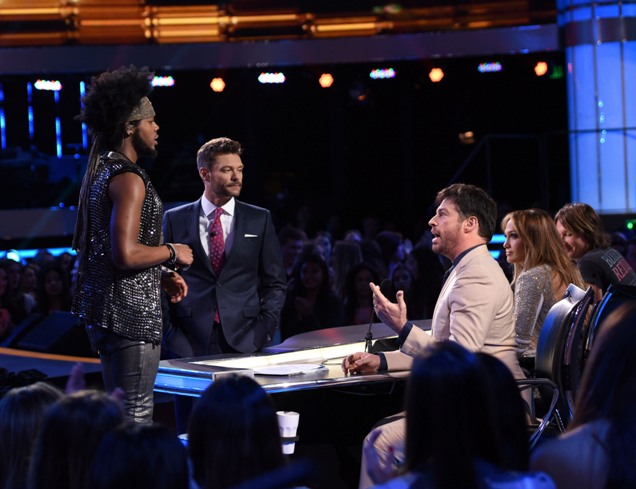 AMERICAN IDOL XIV: L-R: Quentin Alexander, Ryan Seacrest, Harry Connick, Jr., Jennifer Lopez and Keith Urban on AMERICAN IDOL XIV airing Wednesday, April 15 (8:00 PM-10:00 PM ET/PT) on FOX. CR: Michael Becker / FOX. © FOX Broadcasting. This image is embargoed until 10:00PM PT.