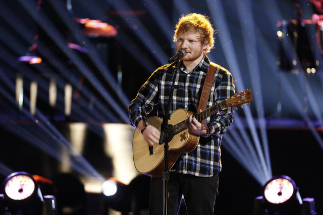 "THE VOICE -- ""Live Finale"" Episode 818B -- Pictured: Ed Sheeran -- (Photo by: Tyler Golden/NBC)"