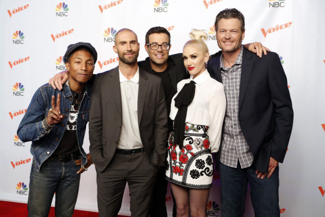 "THE VOICE -- ""Season 9 Press Junket"" -- Pictured: (l-r) Pharrell Williams, Adam Levine, Carson Daly, Gwen Stefani, Blake Shelton -- (Photo by: Trae Patton/NBC)"