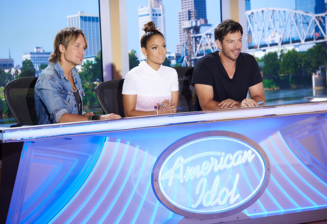 AMERICAN IDOL XV: L-R: Judges Keith Urban, Jennifer Lopez and Harry Connick, Jr., at the taping of American Idol XV on Aug. 22 in Little Rock, AK. CR: Michael Becker / FOX. © FOX Broadcasting.