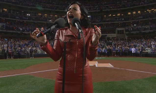 Demi Lovato sings National Anthem World Series 2015