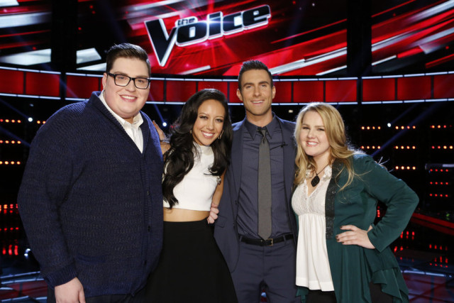 The Voice 9 Song Spoilers Top 10 Performances -- Pictured: (l-r) Jordan Smith, Amy Vachal, Adam Levine, Shelby Brown -- (Photo by: Trae Patton/NBC)