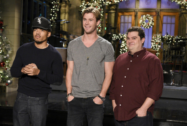 """SATURDAY NIGHT LIVE -- """"Chris Hemsworth"""" Episode 1691 -- Pictured: (l-r) Chance The Rapper, Chris Hemsworth, and Bobby Moynihan on December 10, 2015 -- (Photo by: Dana Edelson/NBC)"""