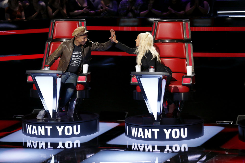 THE VOICE -- Blind Auditions -- Pictured: (l-r) Pharrell Williams, Christina Aguilera -- (Photo by: Trae Patton/NBC)