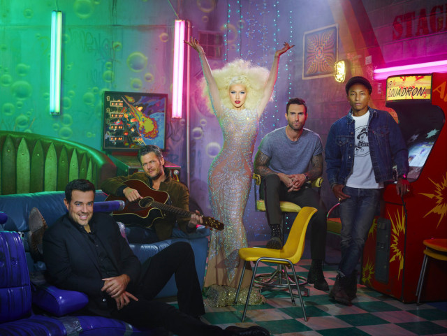 THE VOICE -- Season: 10 -- Pictured: (l-r) Carson Daly, Blake Shelton, Christina Aguilera, Adam Levine, Pharrell Williams -- (Photo by: David LaChapelle/NBC)
