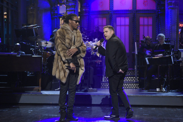 """SATURDAY NIGHT LIVE -- """"Jonah Hill"""" Episode 1697 -- Pictured: (l-r) Musical guest Future and host Jonah Hill during the monologue on March 5, 2016 -- (Photo by: Dana Edelson/NBC)"""