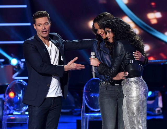 AMERICAN IDOL: Top 5: L-R: Host Ryan Seacrest announces eliminated contestant Tristan McIntosh with contestant Sonika Vaid on AMERICAN IDOL airing Thursday, March 17 (8:00-10:00 PM ET/PT) on FOX. © 2016 FOX Broadcasting Co. Cr: Ray Mickshaw/ FOX. This image is embargoed until Thursday, March 17,10:00PM PT / 1:00AM ET