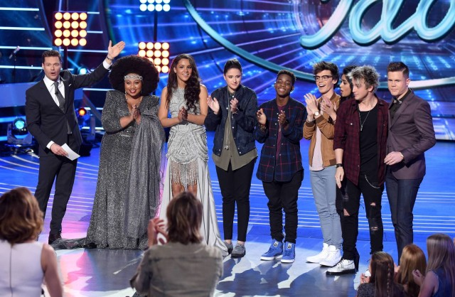 AMERICAN IDOL: Top 8: L-R: Host Ryan Seacrest and the top 8 contestants La'Porsha Renae, Tristan McIntosh, Avalon Young, Lee Jean, MacKenzie Bourg, Sonika Vaid, Dalton Rapattoni and Trent Harmon on AMERICAN IDOL airing Thursday, March 3 (8:00-10:00 PM ET/PT) on FOX. © 2016 FOX Broadcasting Co. Cr: Ray Mickshaw/ FOX. This image is embargoed until Thursday, March 3,10:00PM PT / 1:00AM ET