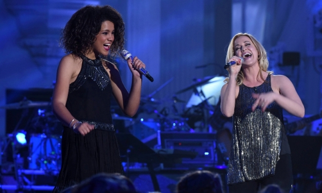 """AMERICAN IDOL: L-R: Contestant Tristan McIntosh and Kellie Pickler in the """"""""Showcase #4: Judges Vote"""" episode of AMERICAN IDOL airing Thursday, Feb. 18 (8:00-10:00 PM ET/PT) on FOX. © 2016 FOX Broadcasting Co. Cr: Ray Mickshaw / FOX."""