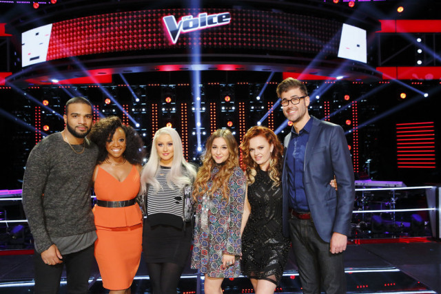 "THE VOICE -- ""Knockout Rounds"" -- Pictured: (l-r) Bryan Bautista, Tamar Davis, Christina Aguilera, Alisan Porter, Kata Hay, Ryan Quinn -- (Photo by: Trae Patton/NBC)"