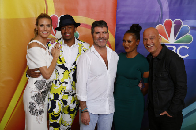 "NBCUNIVERSAL EVENTS -- NBCUniversal Summer Press Day, April 1, 2016 -- NBC's ""America's Got Talent"" -- Pictured: (l-r) Heidi Klum, Nick Cannon, Simon Cowell, Co-Creator/Executive Producer; Mel B, Howie Mandel -- (Photo by: Paul Drinkwater/NBCUniversal)"