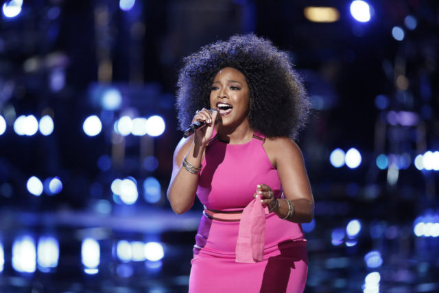 "THE VOICE -- ""Live Playoffs"" Episode 1012A -- Pictured: Tamar Davis -- (Photo by: Tyler Golden/NBC)"