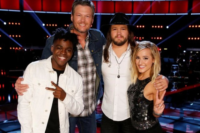"""THE VOICE -- """"Live Playoffs"""" Episode 1012C -- Pictured: (l-r) Paxton Ingram, Blake Shelton, Adam Wakefield, Mary Sarah -- (Photo by: Trae Patton/NBC) Wednesday, April 13 on NBC (8-9 p.m. ET)"""