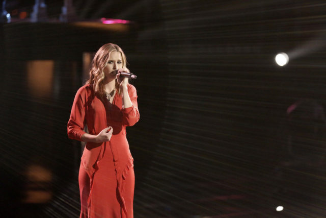 "THE VOICE -- ""Live Top 11"" Episode 1014A -- Pictured: Hannah Huston -- (Photo by: Tyler Golden/NBC)"
