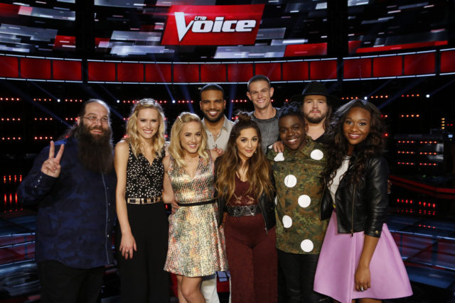 "THE VOICE -- ""Live Top 10"" Episode 1015B -- Pictured: (l-r) Laith Al-Saadi, Hannah Huston, Mary Sarah, Bryan Bautista, Alisan Porter, Nick Hagelin, Paxton Ingram, Adam Wakefield, Shalyah Fearing -- (Photo by: Trae Patton/NBC)"