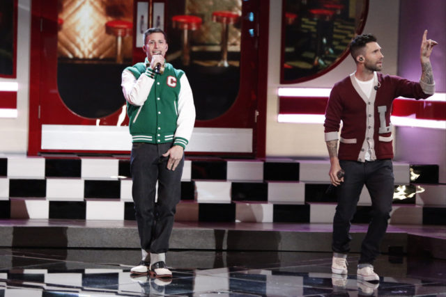 "THE VOICE -- ""Live Top 9"" Episode 1016B -- Pictured: (l-r) Andy Samberg as Conner 4 Real, Adam Levine -- (Photo by: Tyler Golden/NBC)"