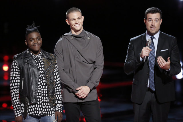 The Voice 10 Recap Top 9 Results -- Pictured: (l-r) Paxton Ingram, Nick Hagelin, Carson Daly -- (Photo by: Tyler Golden/NBC)